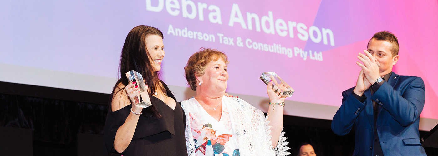 Leanne Berry and Debra Anderson share the award for MYOB Certified Consultant of the Year.