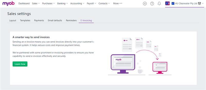 Sales settings in MYOB