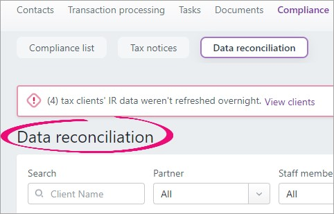 Data reconciliation improvements in MYOB Practice (NZ)